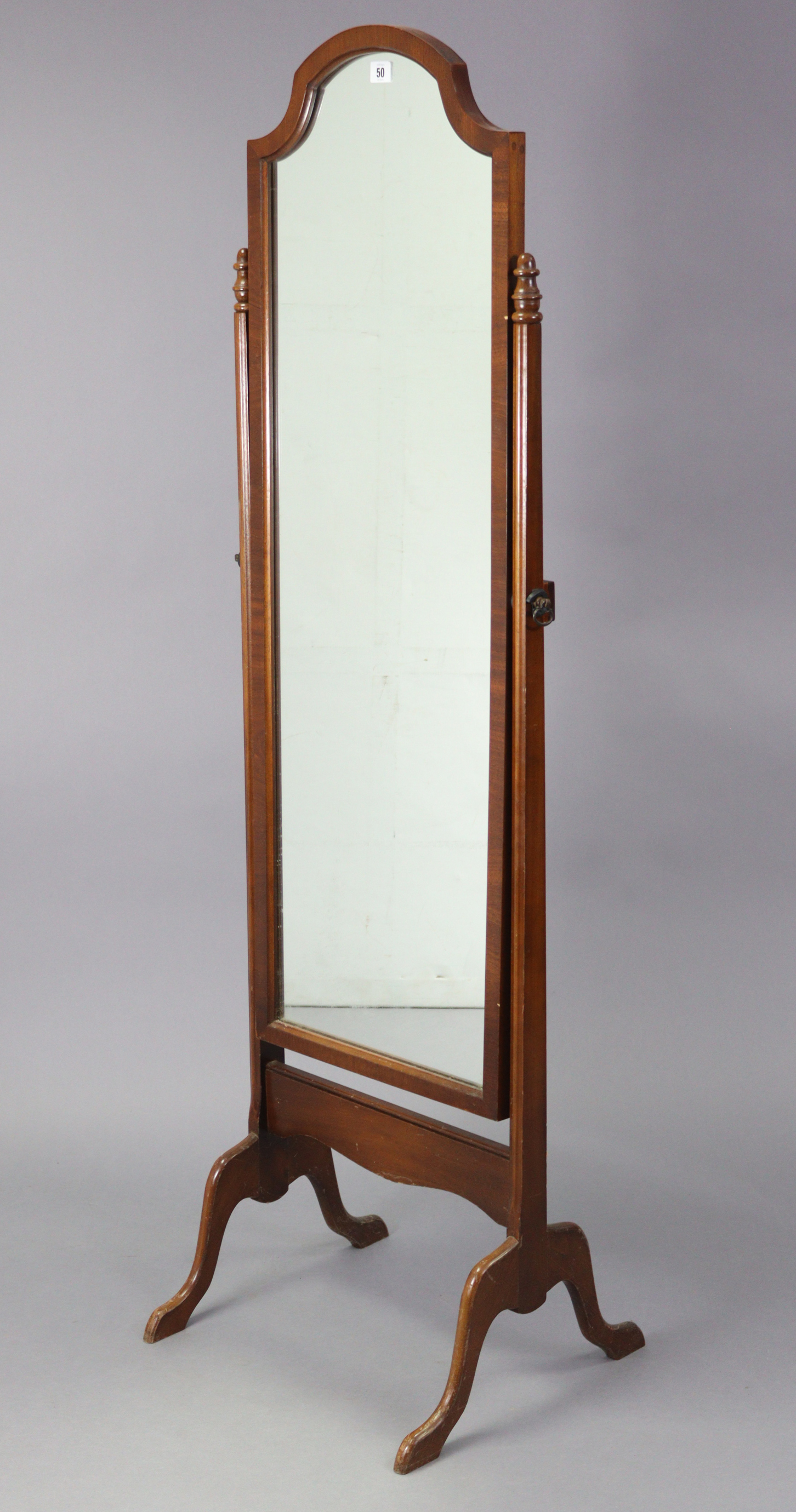 """A mahogany rectangular cheval mirror on square tapered supports & cabriole legs, 18"""" wide x 61¾"""""""