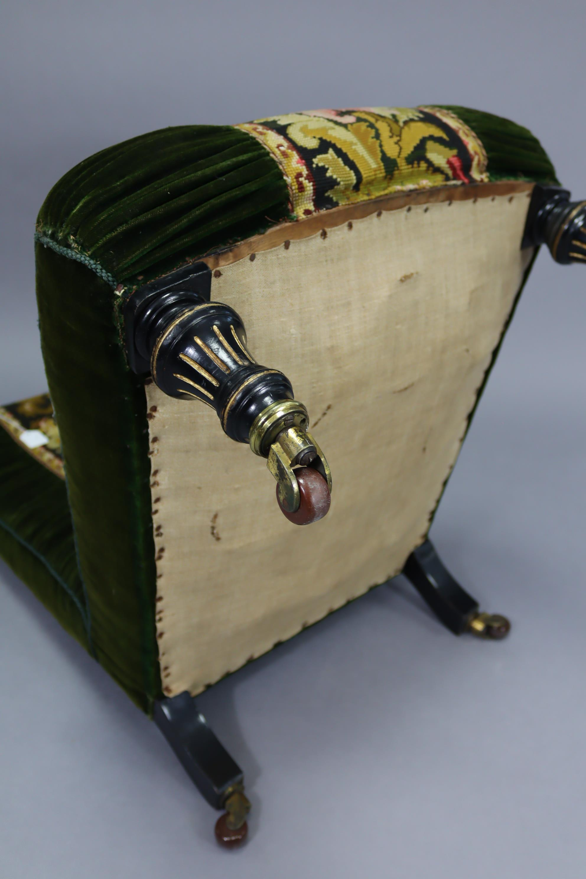 A late 19th century nursing chair upholstered green velour & multi-coloured foliate embroidery, on - Image 7 of 8