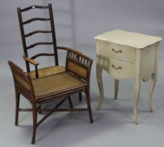 A cream-finish serpentine-front bedside chest fitted two long graduated drawers, & on slender
