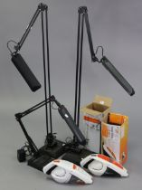 Two Vax hand-held vacuum cleaners, both boxed; & three anglepoise lamps.