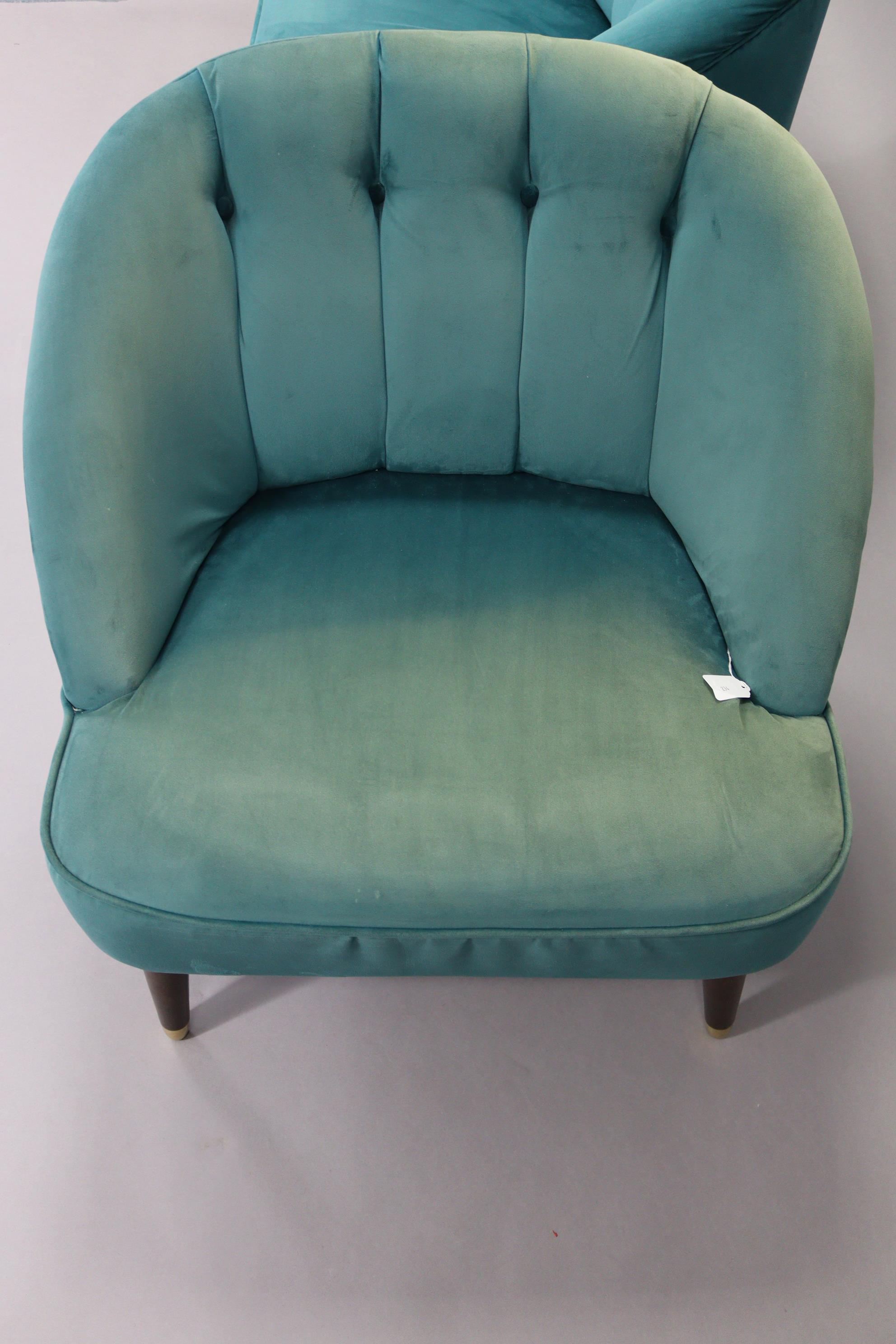 A pair of tub-shaped easy chairs each with buttoned back & sprung seat upholstered turquoise velour, - Image 9 of 11