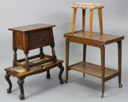 """A carved oak box-seat stool on short baluster-turned legs with plain stretchers, 20"""" wide x 19"""""""