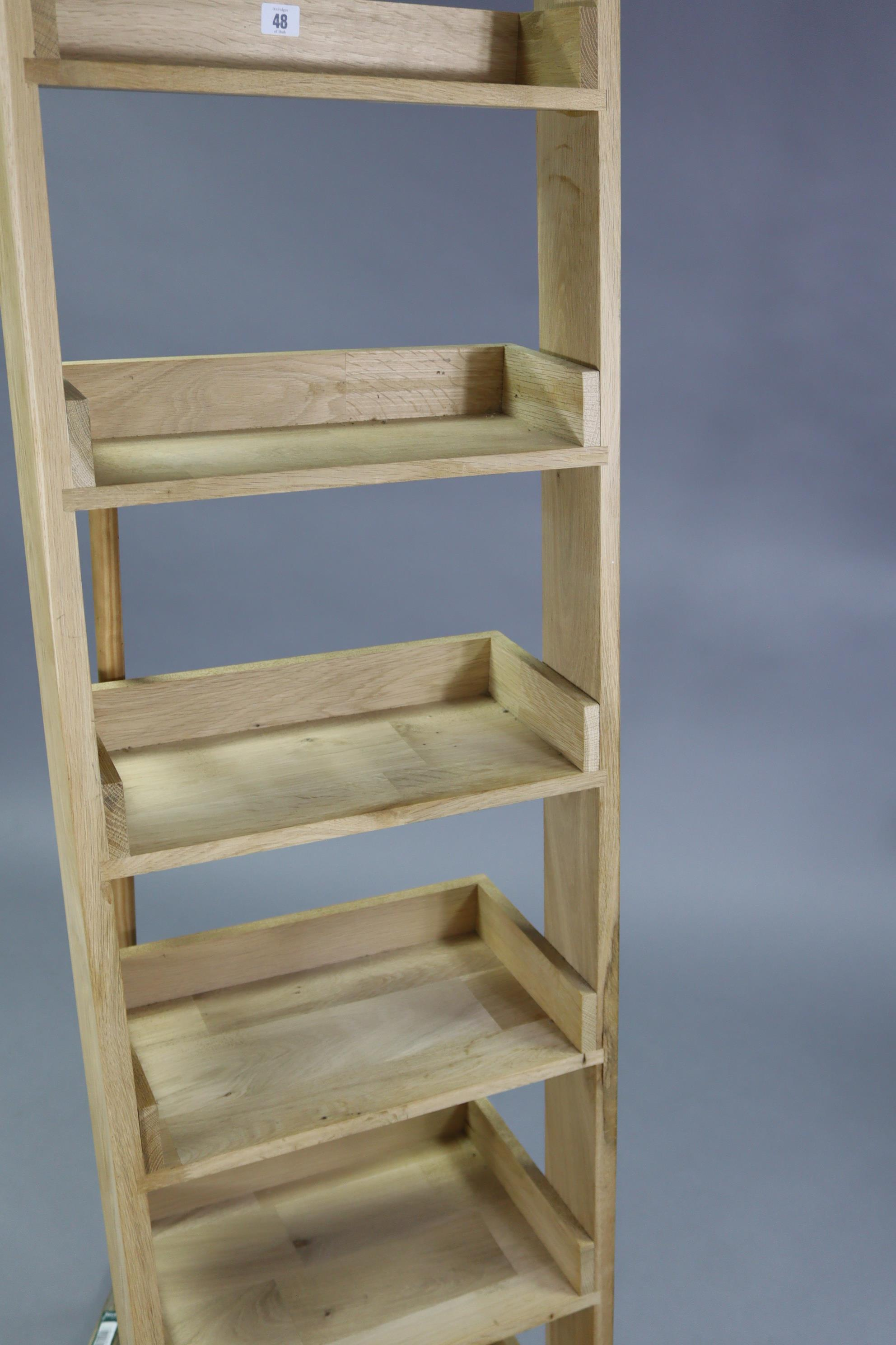"A light oak tall six-tier lean-to shelf unit, 18¾"" wide x 71"" high. - Image 2 of 3"