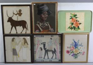 Six various decorative pictures, including three Egyptian textiles, each in glazed frame; & a floral