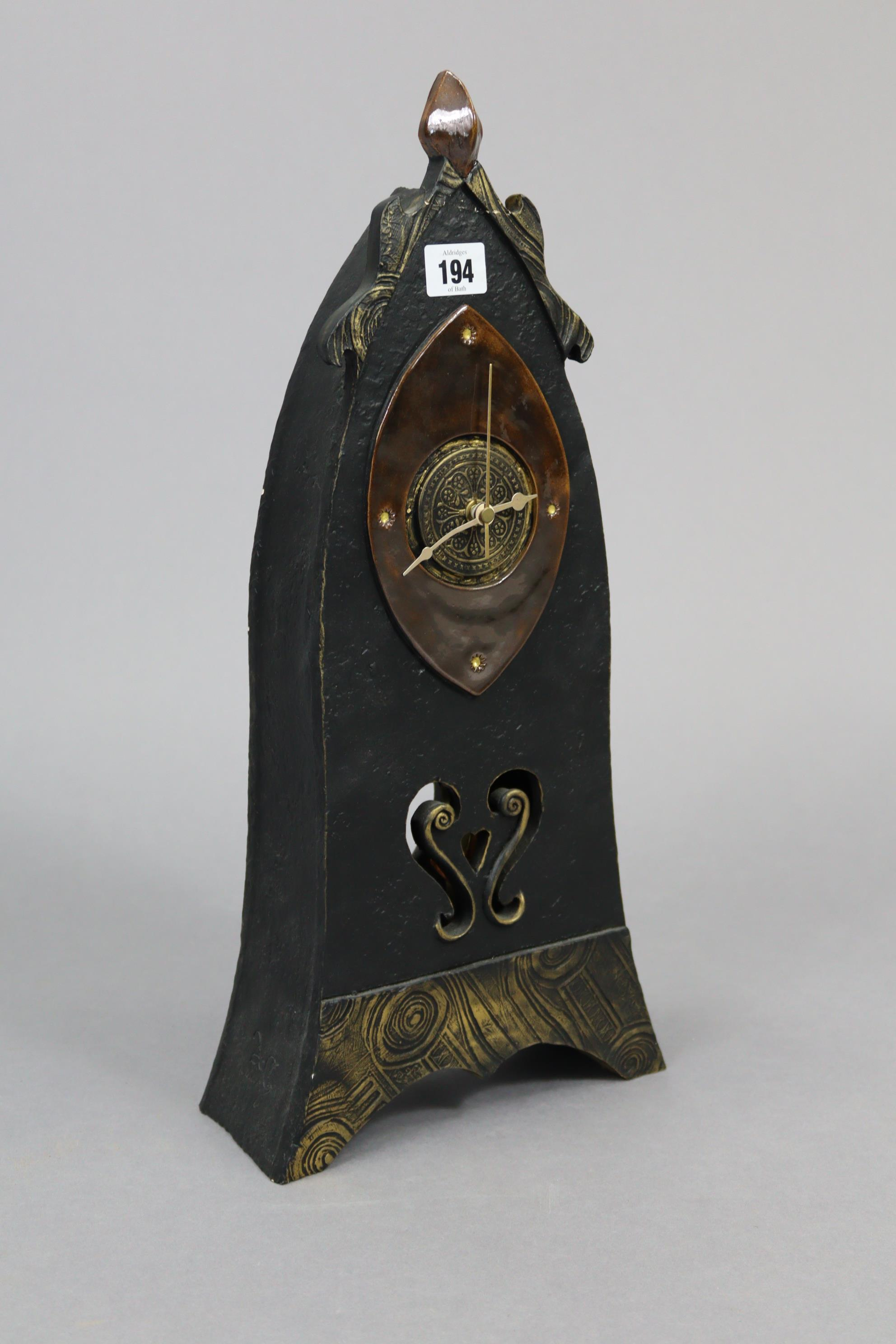 """A mantel clock in black glazed pottery case, 19¼"""" high; a contemporary pottery model of a cow, - Image 4 of 9"""