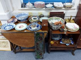Various items of decorative china, pottery, metalware, etc, part w.a.f.