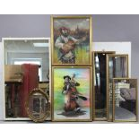 """Two pastel studies each depicting a Jewish musician, 27"""" x 19"""", & 24"""" x 19"""", each in gilt frame; &"""