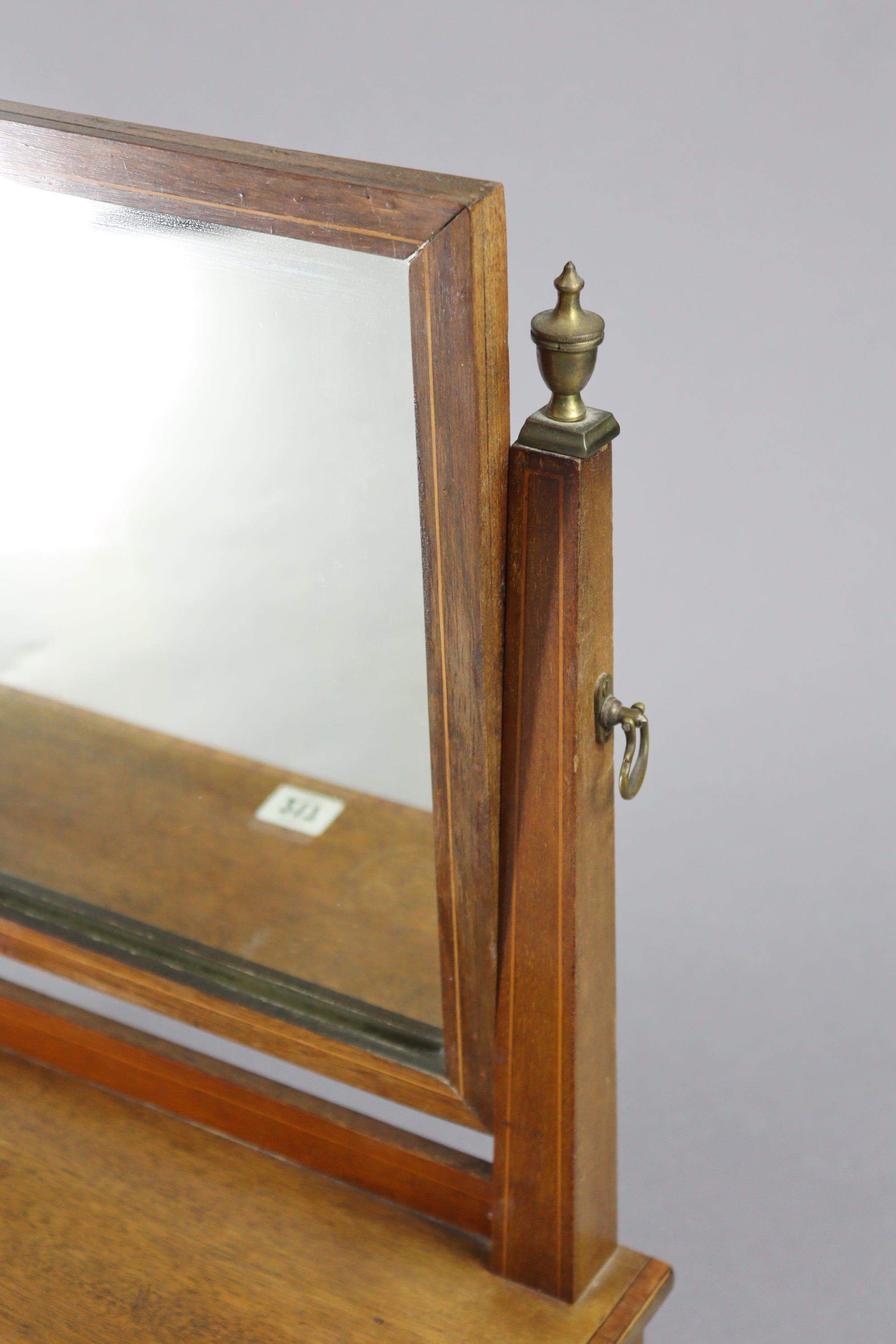 An Edwardian inlaid mahogany rectangular swing toilet glass, fitted two small drawers to the box - Image 4 of 5