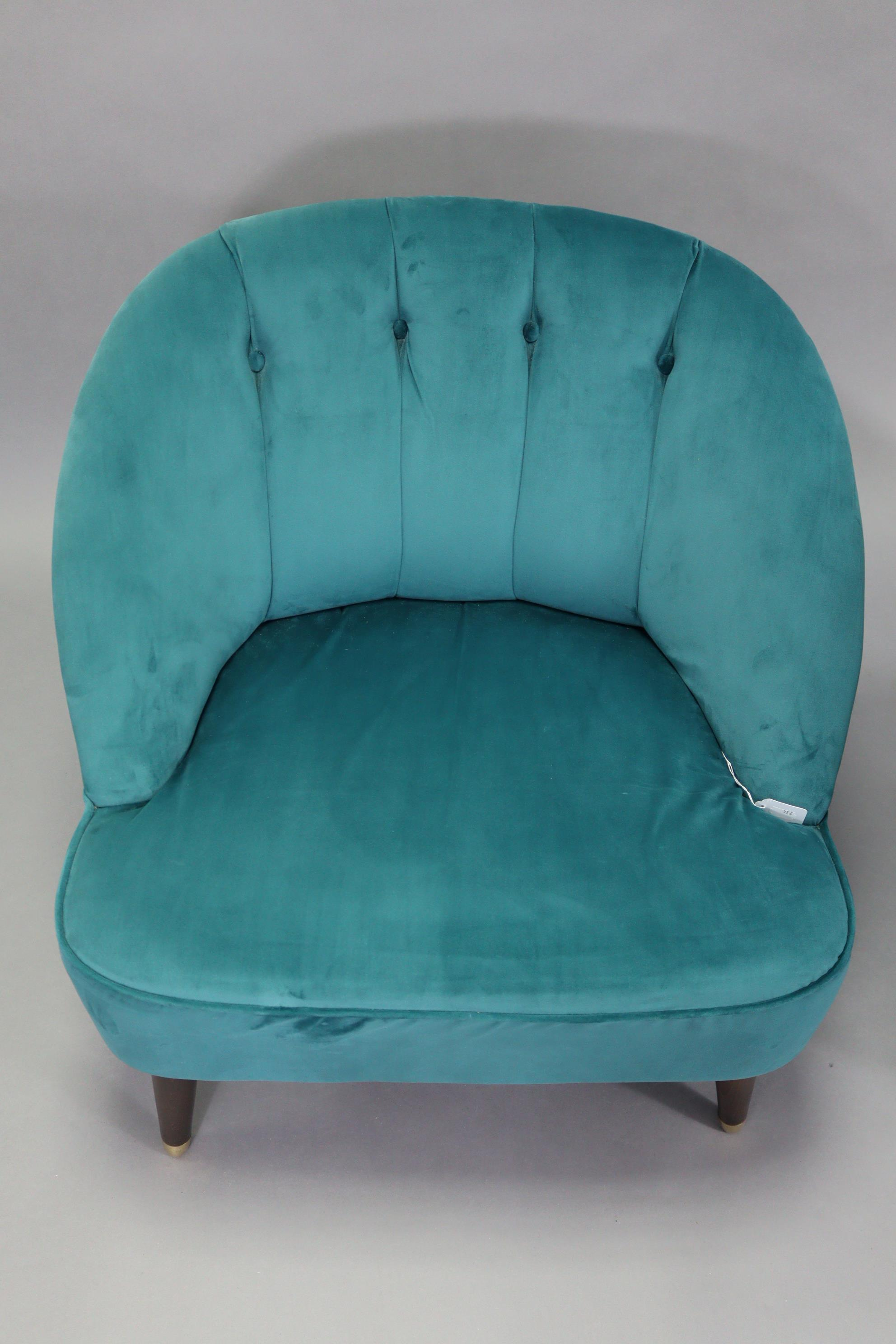 A pair of tub-shaped easy chairs each with buttoned back & sprung seat upholstered turquoise velour, - Image 8 of 11