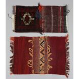 "A small Kelim saddle bag face 1'9"" x 2'8""; & a small Afghan saddle bag face; 1'3"" x 2'7""."