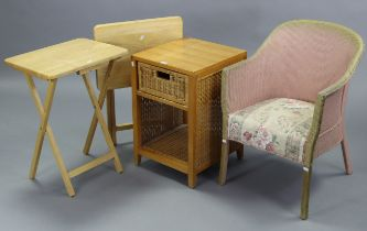 """A pine & woven cane bedside cabinet, 15½"""" wide x 24"""" high; together with a pair of rectangular"""