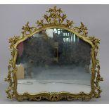 "A 19th century-style gilt frame overmantel mirror with pierced foliate border, 45"" x 48""."