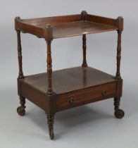 An inlaid-mahogany rectangular two-tier whatnot (reduced in height), fitted with a long drawer to
