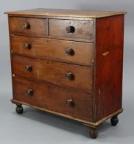 A Victorian mahogany chest fitted two short & three long graduated drawers with turned knob handles,