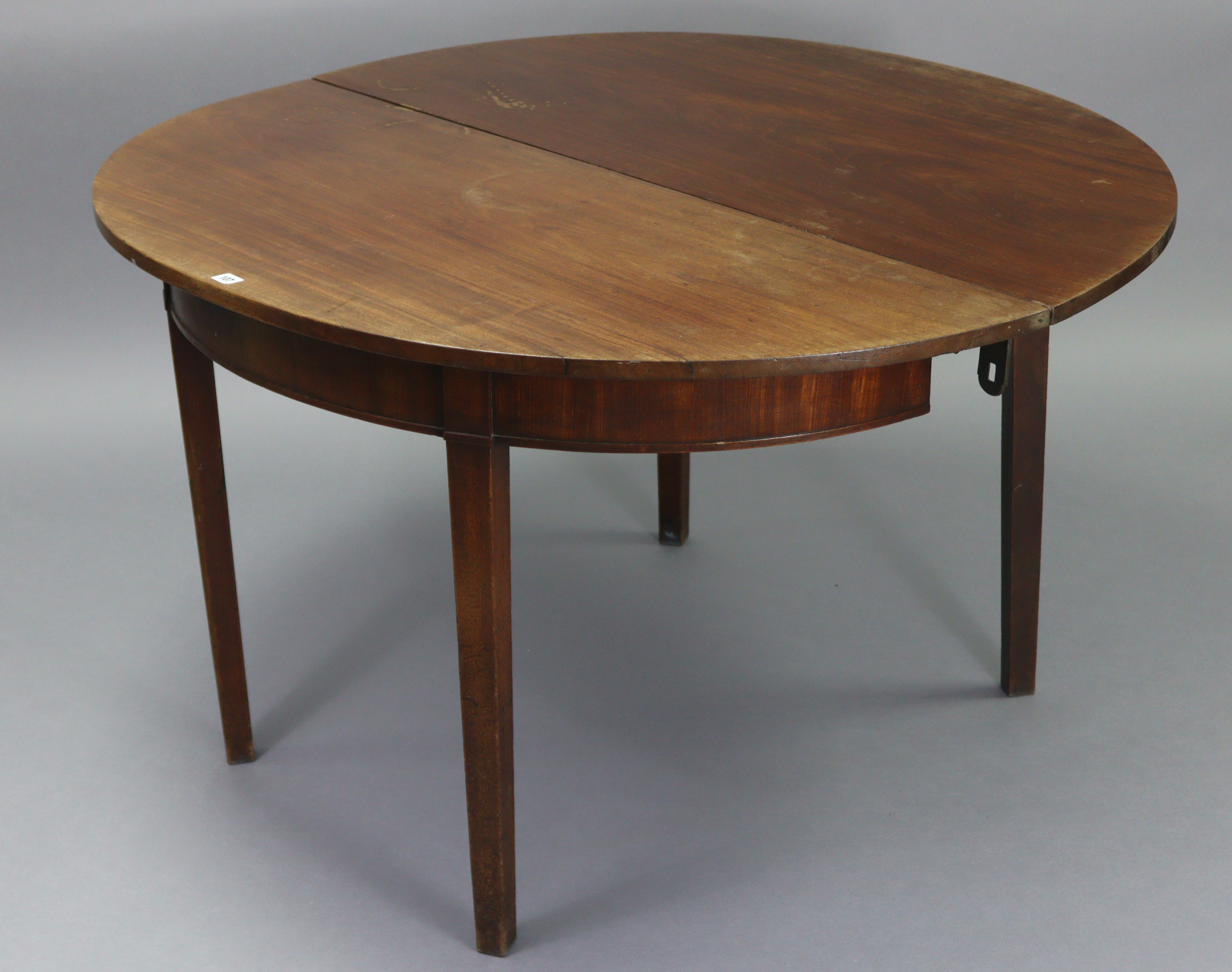 An early 20th century mahogany circular single-drop leaf dining table on four square tapered legs, - Image 3 of 6