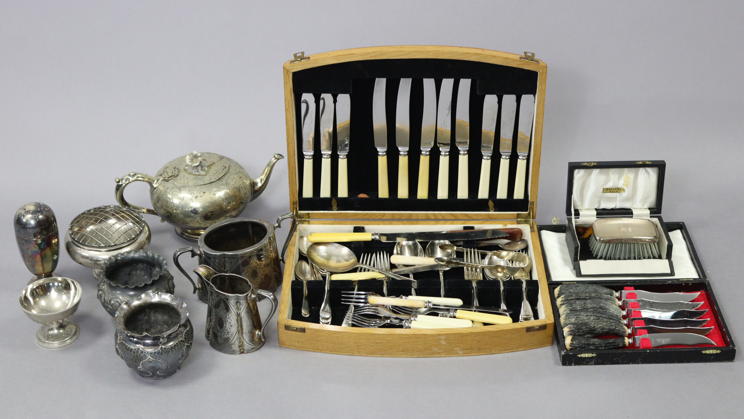 """A silver-backed clothes brush & comb in fitted """"Mallory's of Bath"""" case, Birmingham 1963; together"""