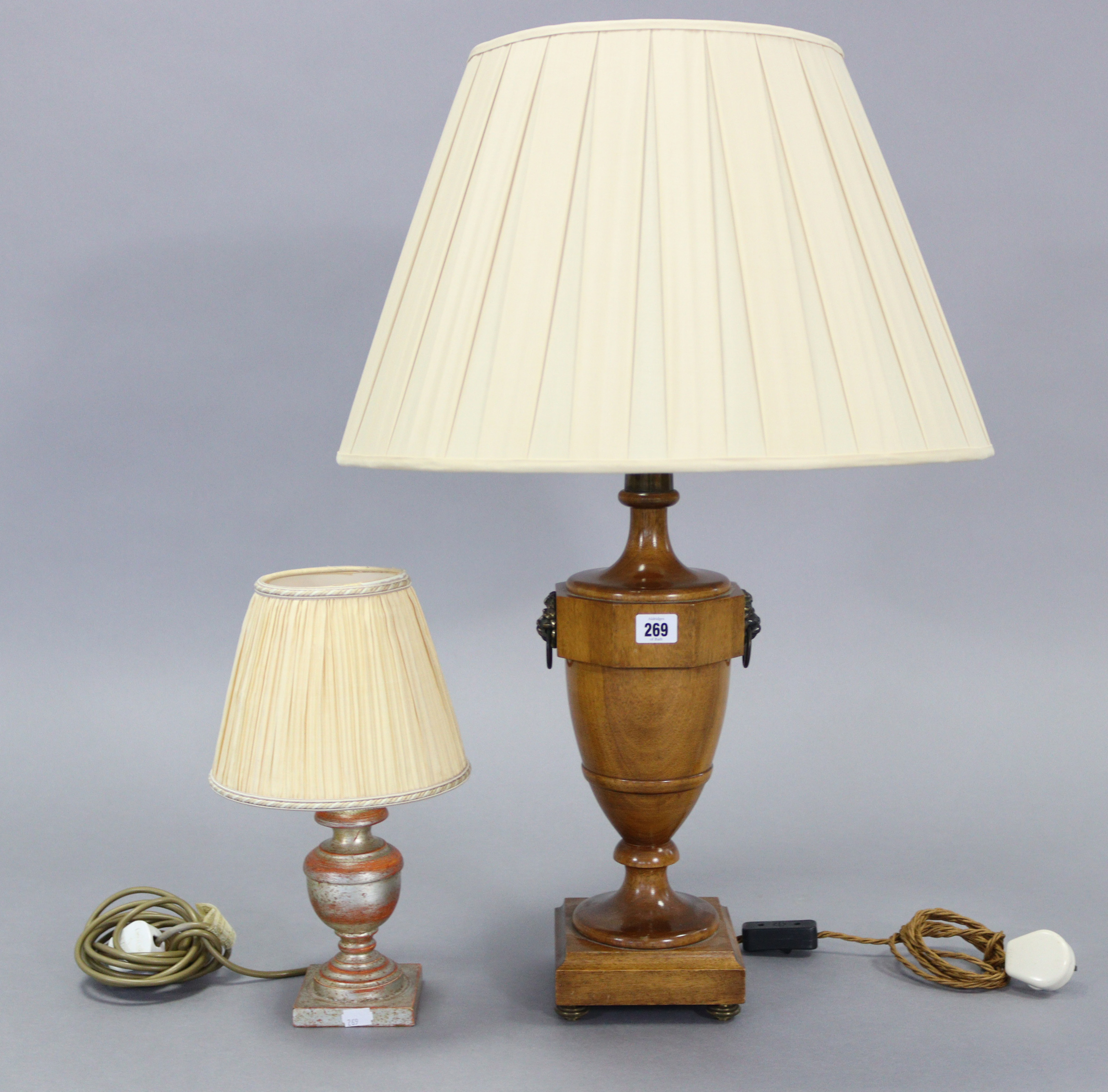 """A treen table lamp with vase-turned centre column, & on a square plinth, 30½"""" high; a composition"""