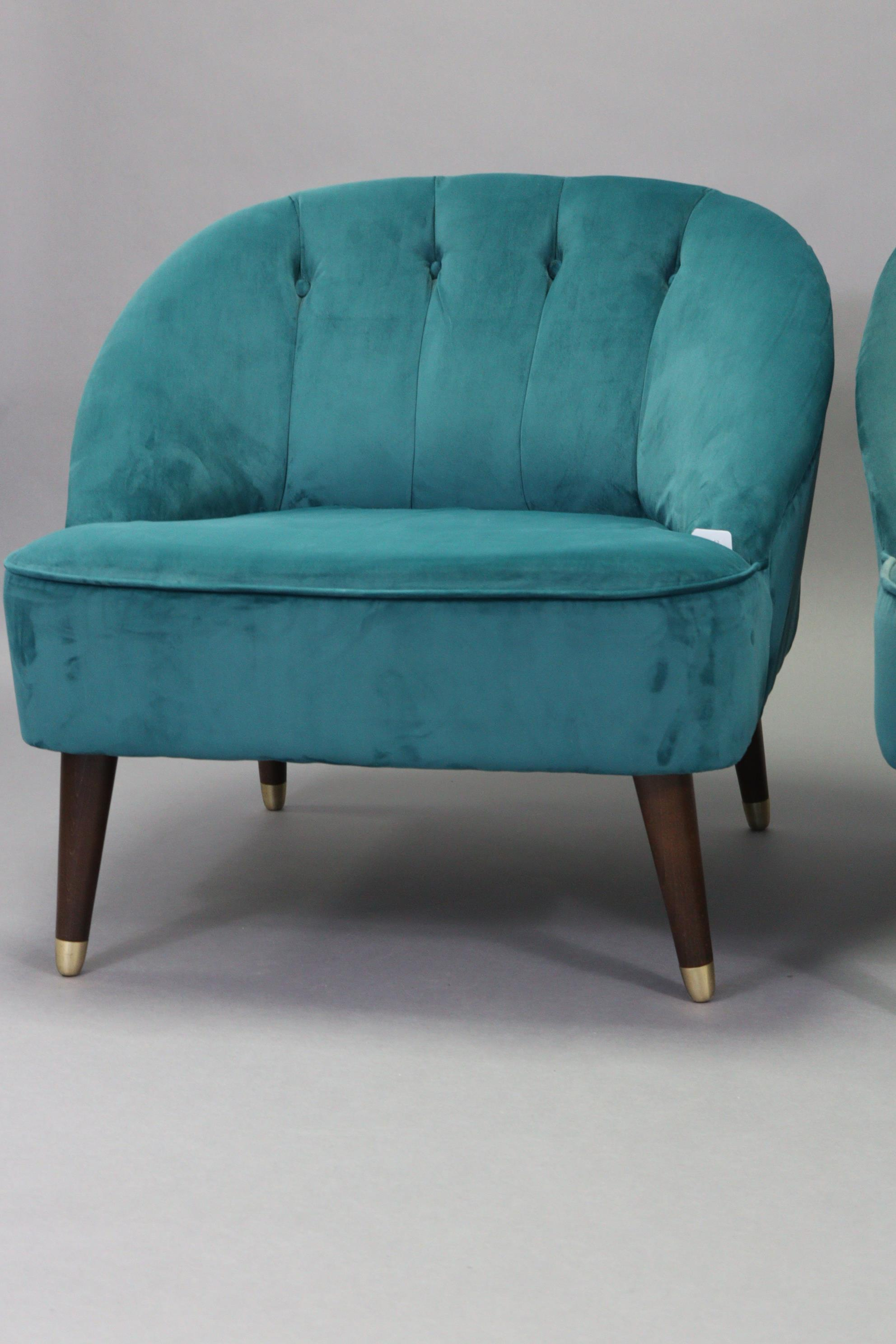 A pair of tub-shaped easy chairs each with buttoned back & sprung seat upholstered turquoise velour, - Image 3 of 11