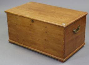 """A pine blanket box with hinged lift-lid, & with brass side handles, 36"""" wide x 18¼"""" high x 21"""""""