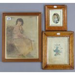 """A 19th century coloured print depicting a female farm worker, unsigned, 12¾"""" x 9¾""""; together with"""