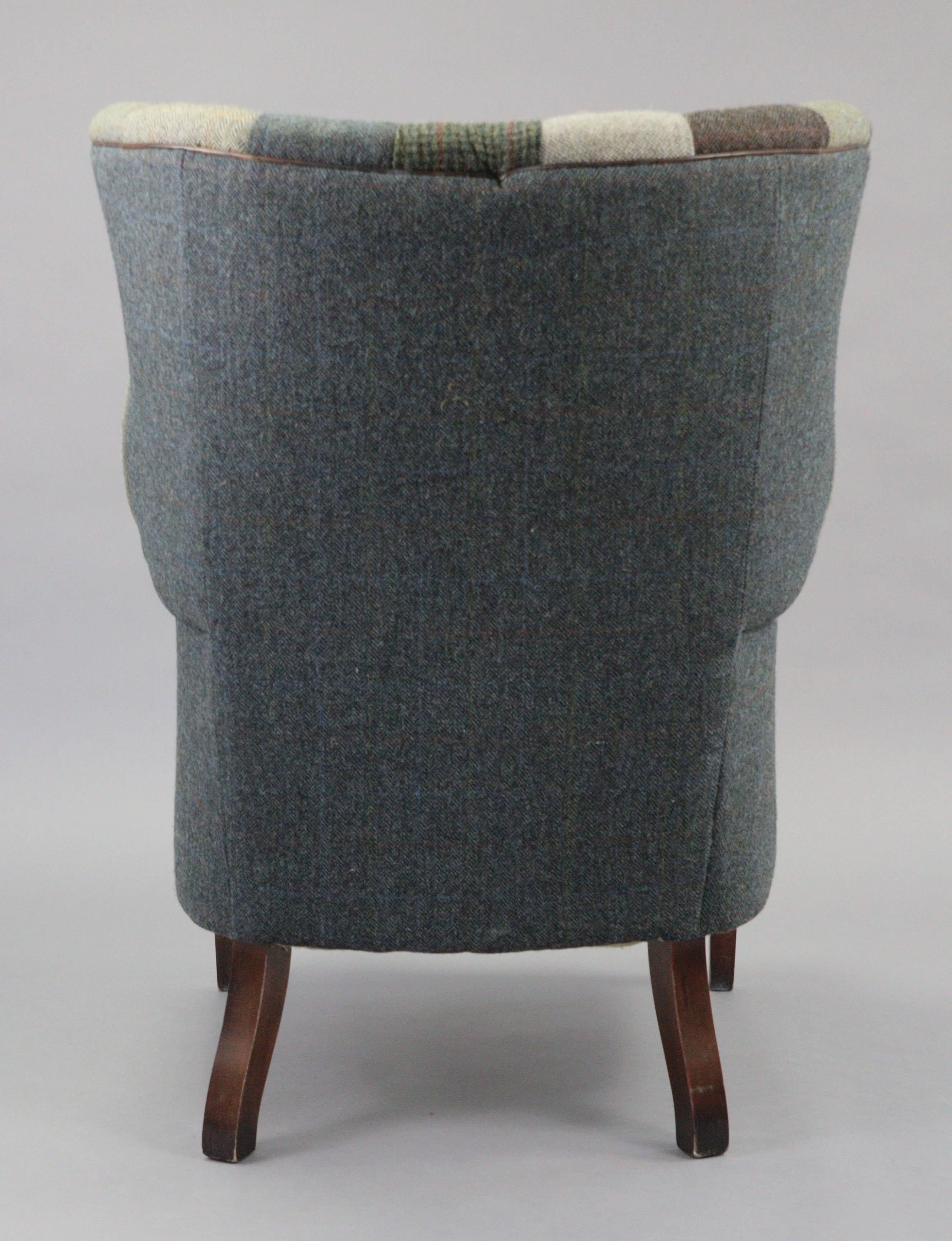 A Tetrad Harris Tweed Mackenzie buttoned-back armchair upholstered multi-coloured material, & on - Image 3 of 4