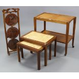 """A teak rectangular two-tier tea trolley on square tapered supports with castors, 28"""" wide x 25"""""""