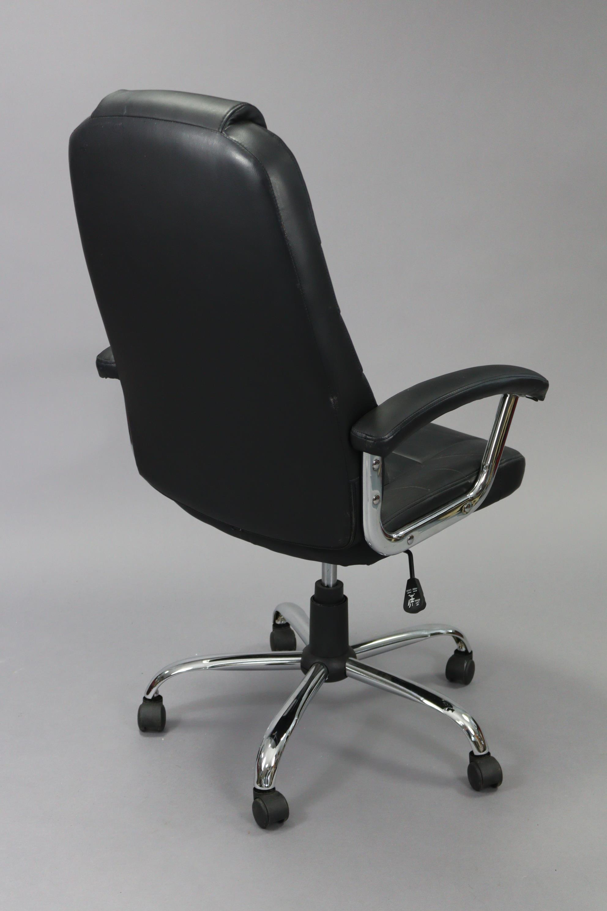 A black leatherette & silvered-metal swivel desk chair. - Image 2 of 4