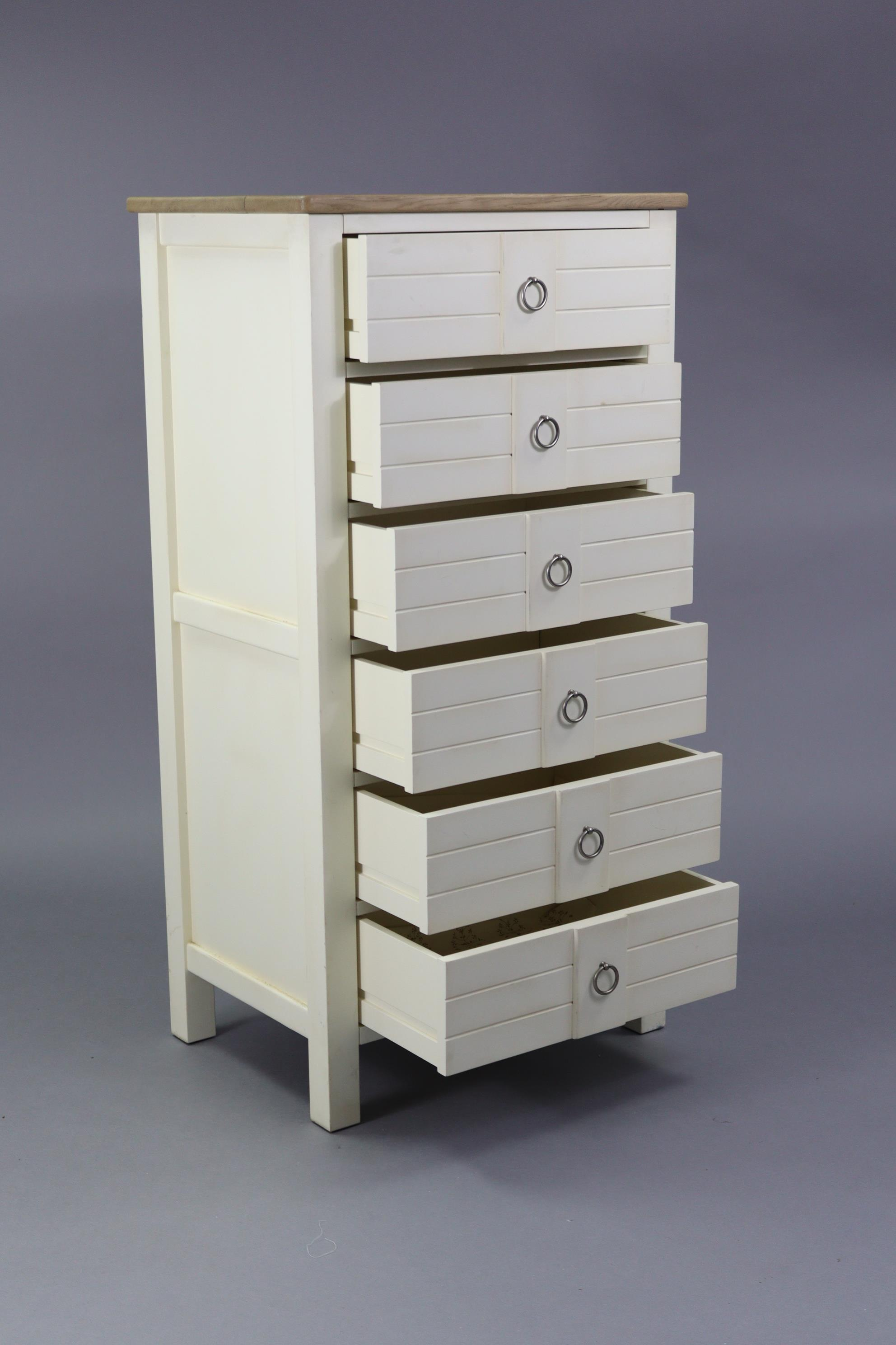 """A modern upright white-finish chest fitted six long drawers & with natural oak top, 25½"""" wide x 49½"""" - Image 2 of 4"""