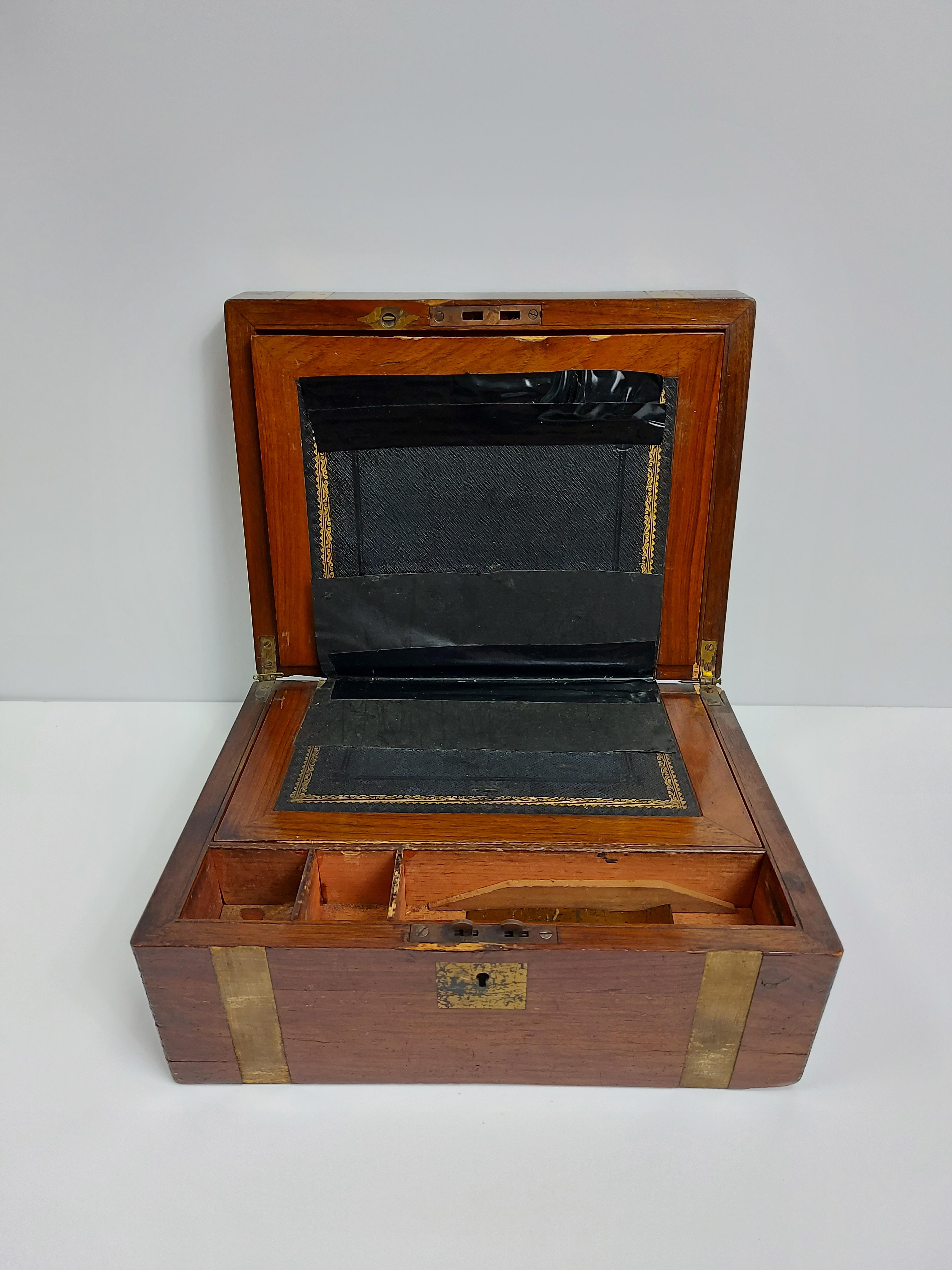 """A 19th century brass-bound mahogany writing slope, 11¾"""" wide; together with an ebony-backed five- - Image 3 of 6"""