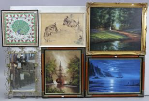 Various items of decorative china, pottery, glassware, etc.; together with a rectangular wall mirror