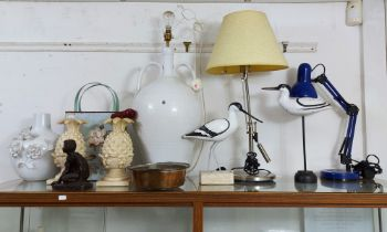 Four table lamps; an anglepoise table lamp; two wooden trinket boxes; various decorative ornaments.