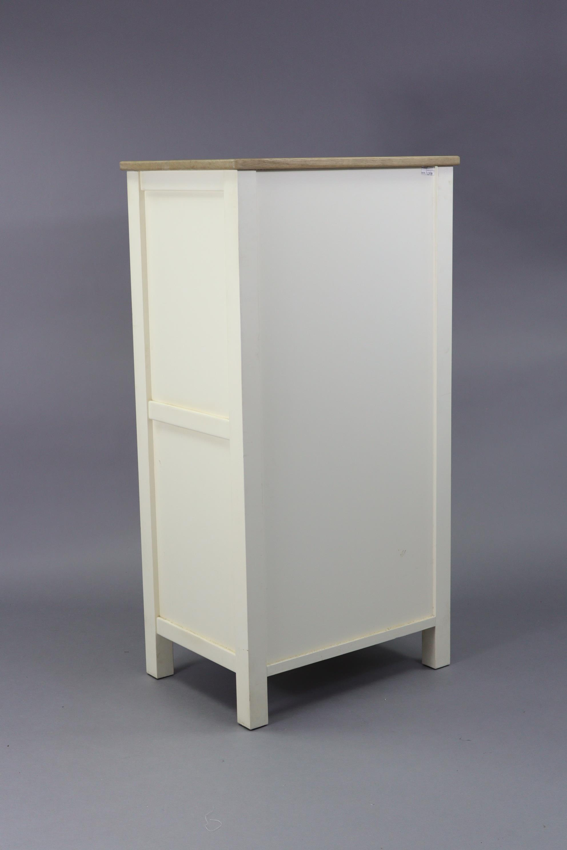 """A modern upright white-finish chest fitted six long drawers & with natural oak top, 25½"""" wide x 49½"""" - Image 4 of 4"""