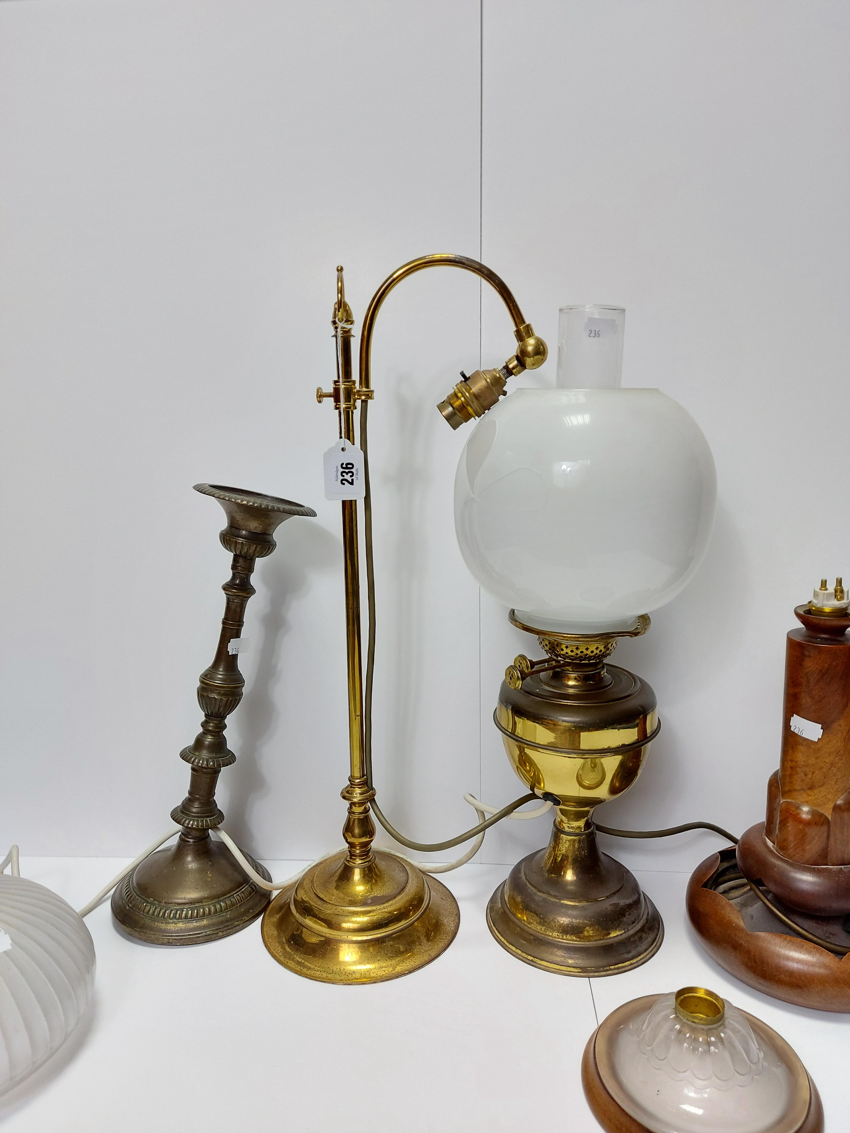 """An Edwardian style brass desk lamp with scroll-arm, & on circular base, 22"""" high; together with - Image 2 of 2"""