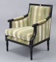 A regency-style ebonised frame square-back armchair upholstered multi-coloured stripped