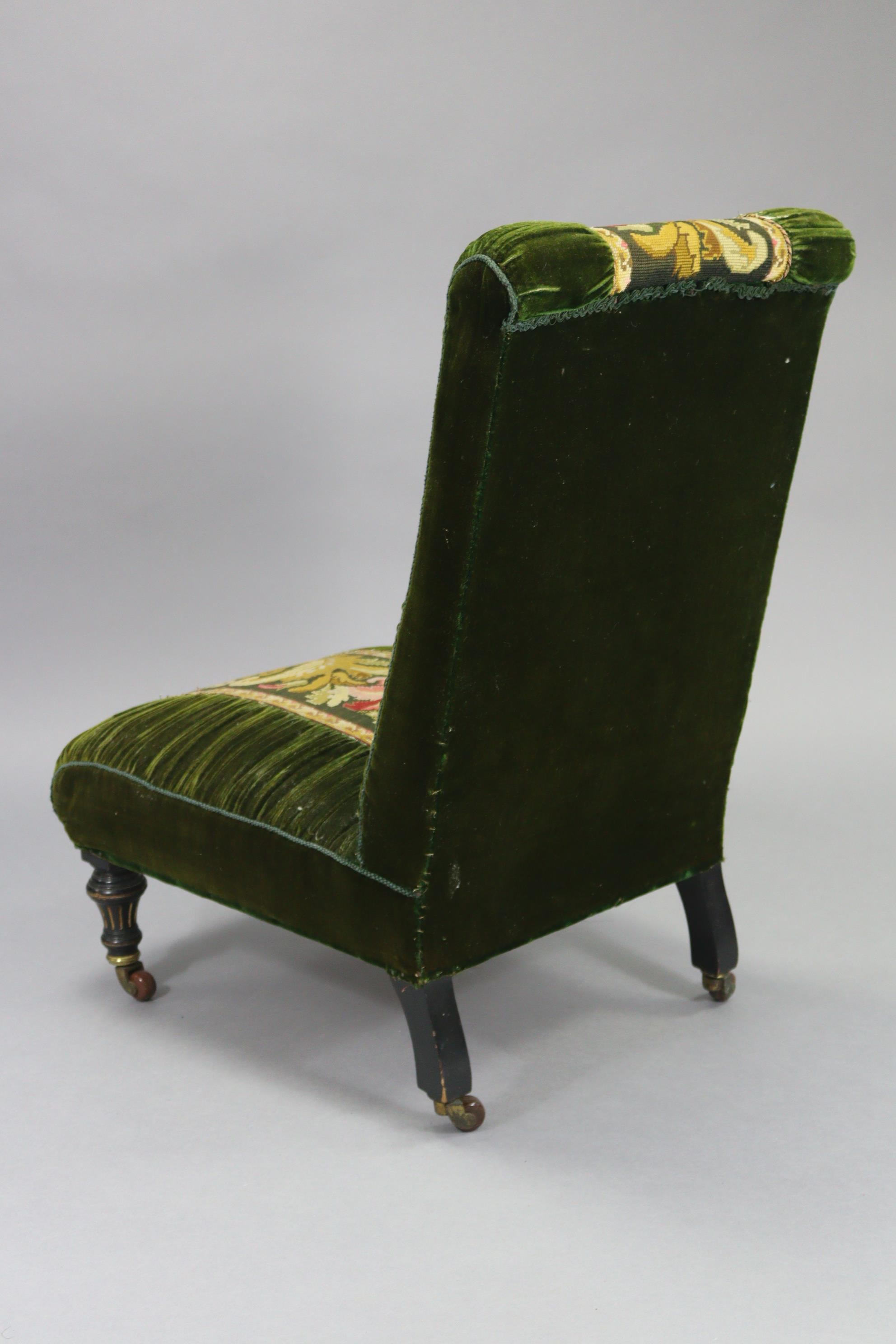 A late 19th century nursing chair upholstered green velour & multi-coloured foliate embroidery, on - Image 8 of 8