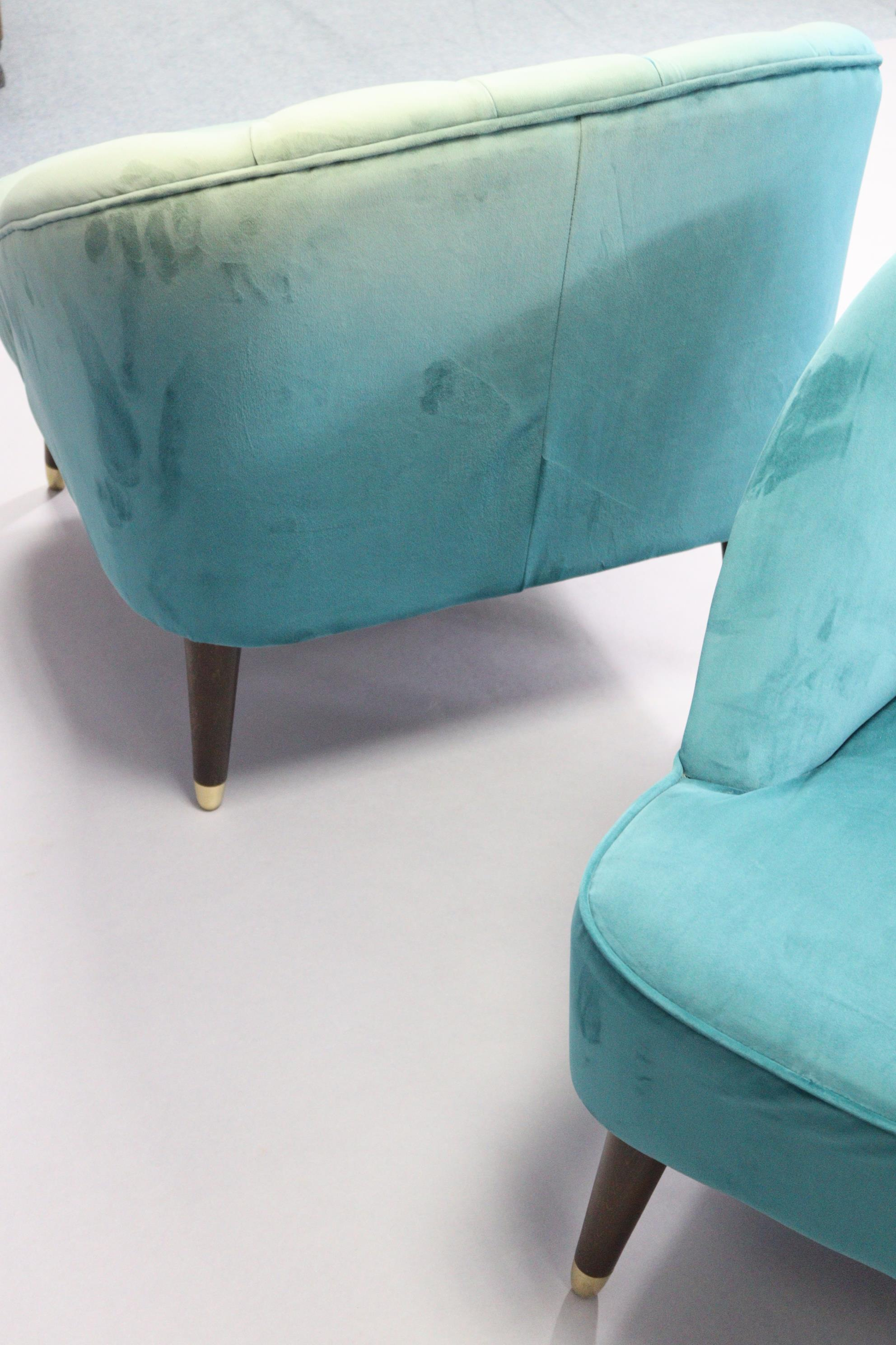 A pair of tub-shaped easy chairs each with buttoned back & sprung seat upholstered turquoise velour, - Image 7 of 11