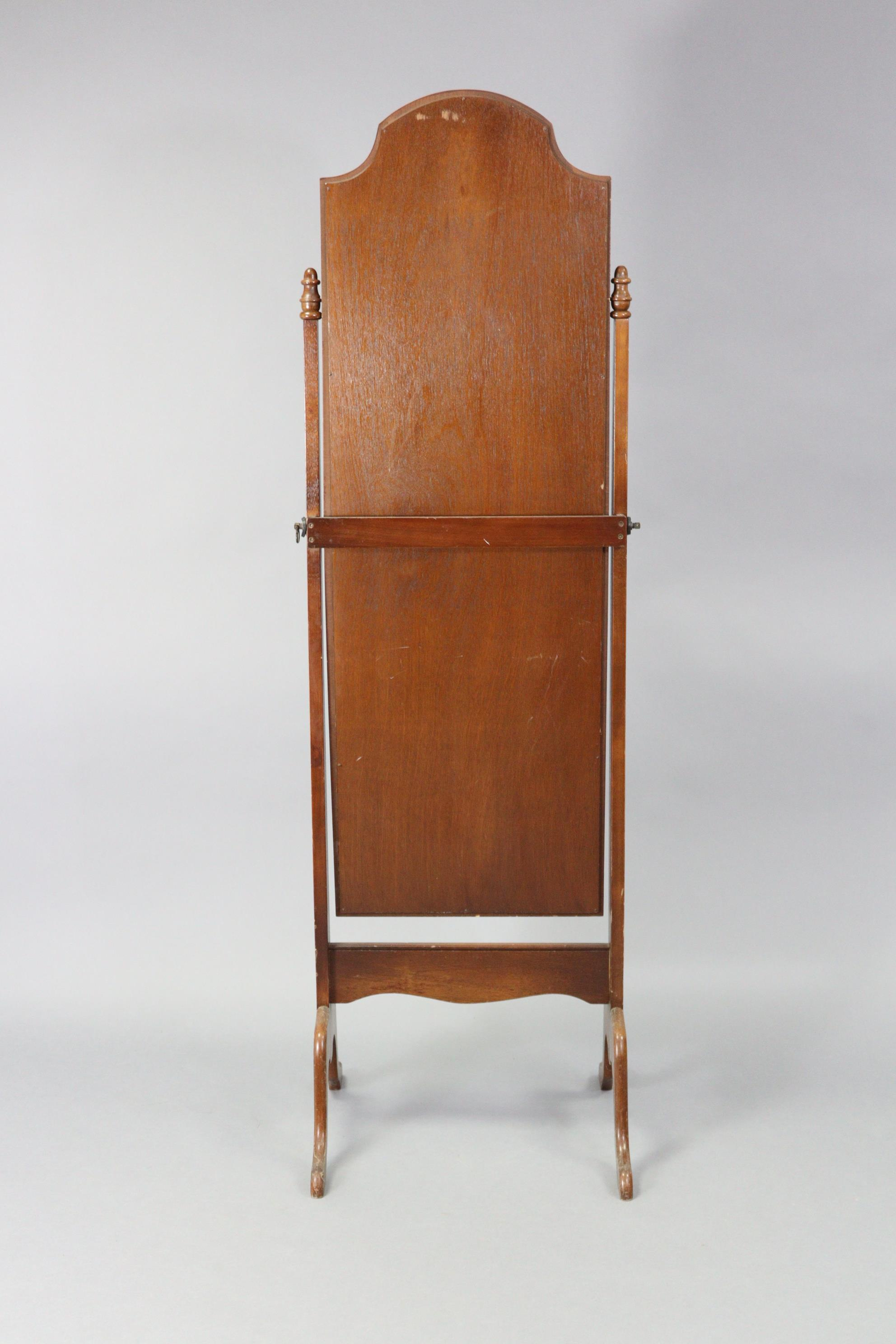 """A mahogany rectangular cheval mirror on square tapered supports & cabriole legs, 18"""" wide x 61¾"""" - Image 2 of 2"""