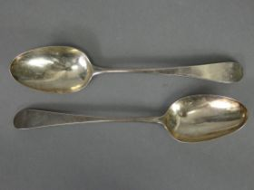 A pair of George III silver Old English table spoons; London 1777, by Thomas Northcote. (3½ oz).