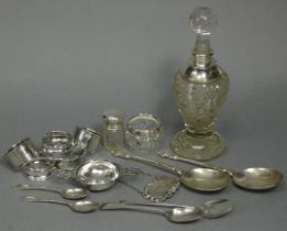 """A pair of late Victorian silver apostle serving spoons with oval bowls & writhen stems, 7"""" long,"""