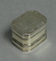 A George III silver nutmeg grater of rectangular form with canted corners & engraved removable cover