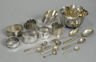 "An Edwardian silver sugar bowl of quatrelobe shape, with beaded rim & on four ball feet, 4"" wide x"