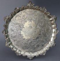 A SCOTTISH GEORGE III SILVER SALVER with raised pie-crust border & cast grapevine rim, engraved