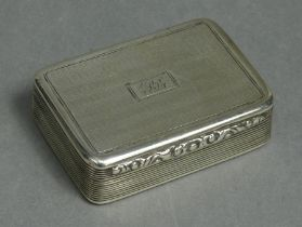 A William IV silver rectangular snuff box, engine-turned & with reeded sides, carved scroll thumb-