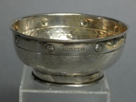 """A George V silver sugar bowl with planished surface & mock rivets to the rim, 4"""" diam., Birmingham"""
