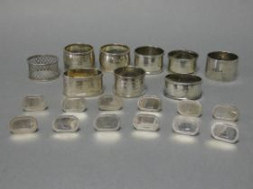Twelve modern silver place-markers with small oval panels, six London 1995, & six 1999 (2.4 oz); &