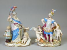 A PAIR OF MEISSEN FIGURE GROUPS EMBLEMATIC OF WAR & WISDOM, the first with standing figure of Mars &