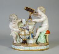 A Meissen porcelain figure group emblematic of astronomy, with two putti – one looking through a