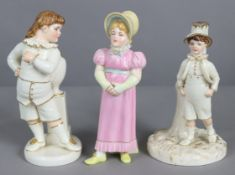 """A Royal Worcester porcelain """"Kate Greenaway"""" sugar caster figure of a girl in yellow bonnet & long"""
