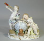 A Meissen porcelain figure group emblematic of astronomy, with two putti – one gazing through a