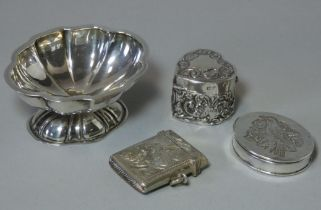 """A silver bon-bon dish of shaped oval form on pedestal foot, Chester 1956 (?) by Deakin & Sons, 1¼"""""""